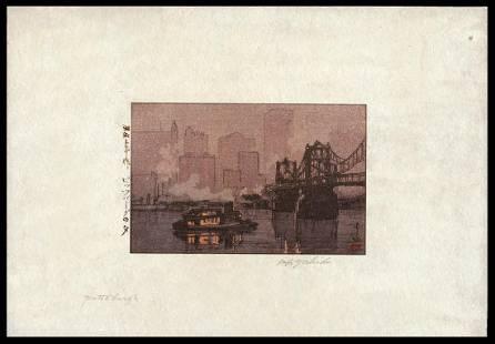 Hiroshi Yoshida Woodblock - Pittsburgh
