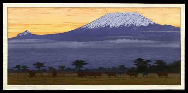 Toshi Yoshida Woodblock - Kilimanjaro Evening