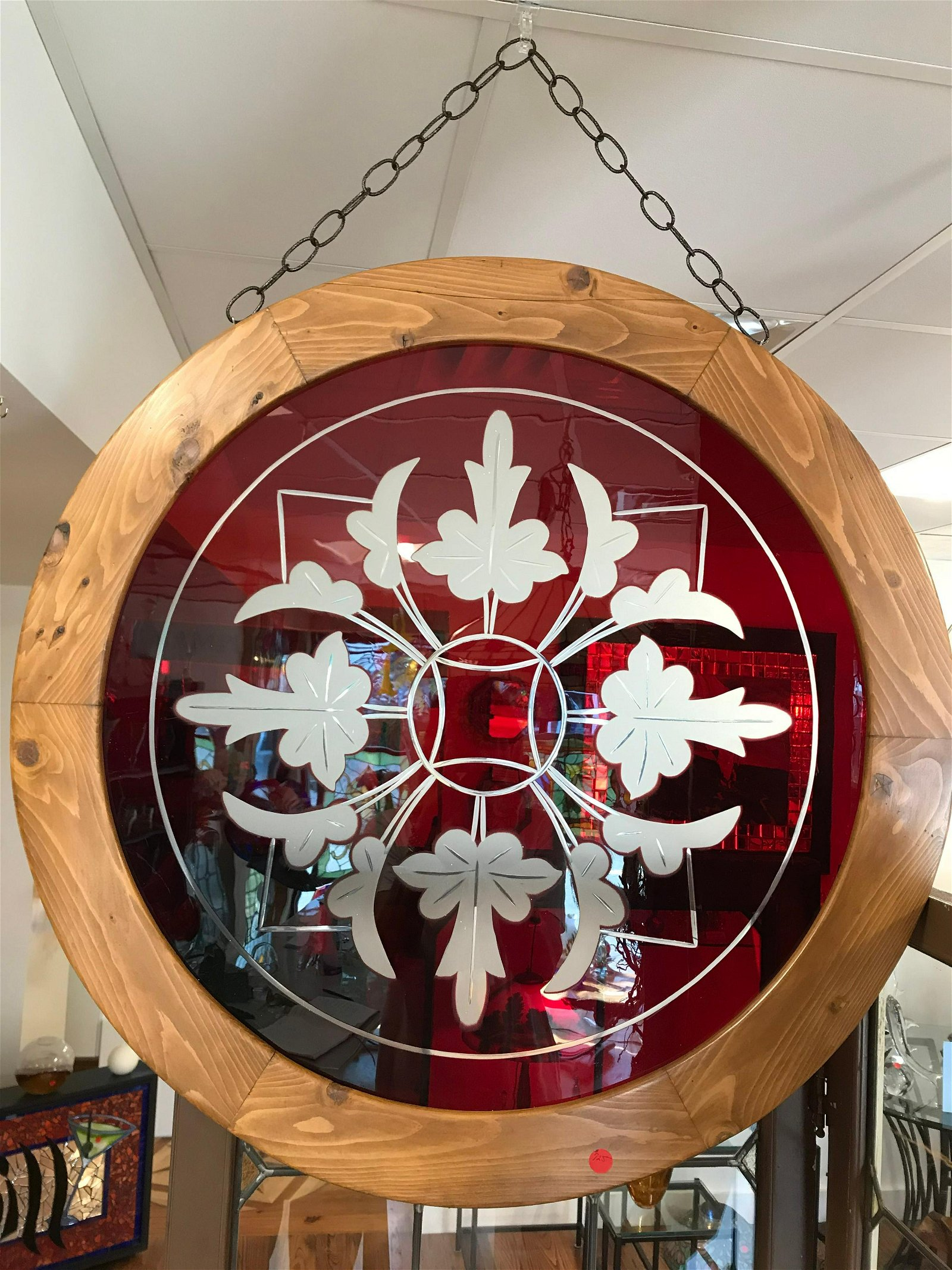 Copper wheel engraved red flassh glass pannel