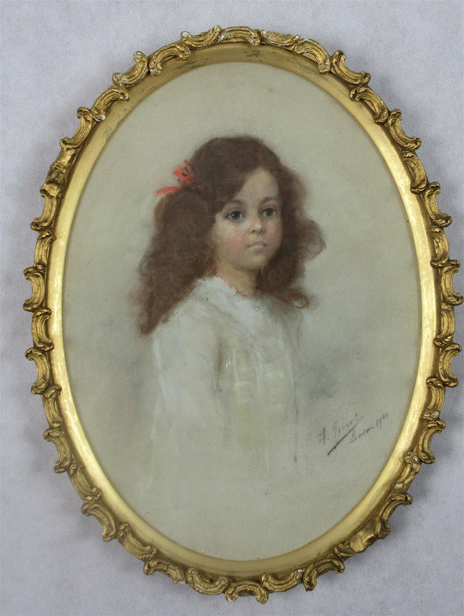 Victorian gouache of a girl