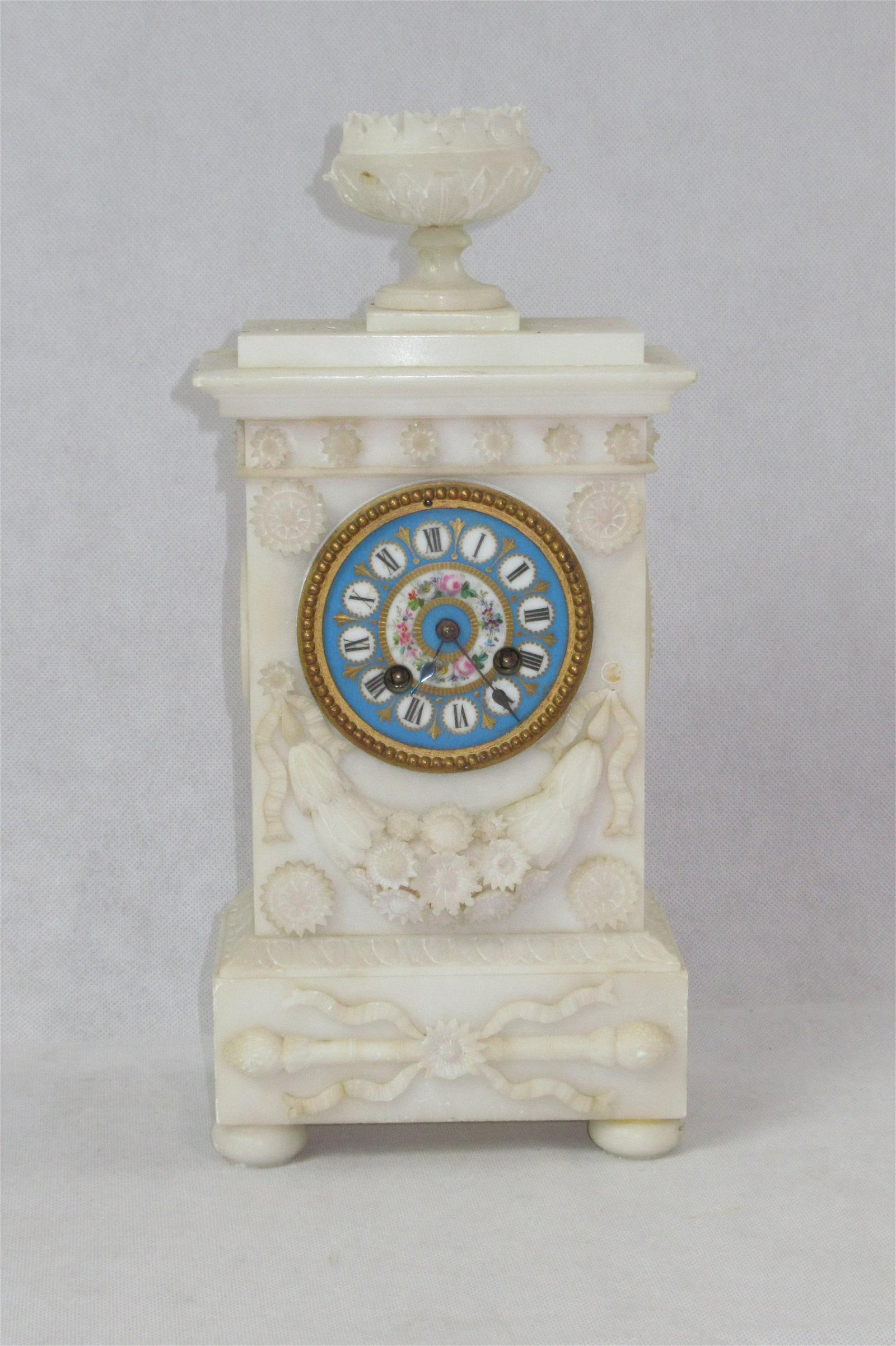 19thC/Early 20thC French Alabaster Clock with Painted