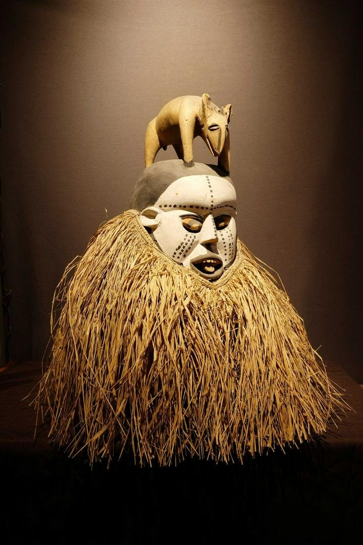 Suku mask with animal on top
