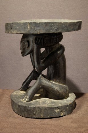 Chokwe Stool with Seated Figure  Prov: Donald Taitt