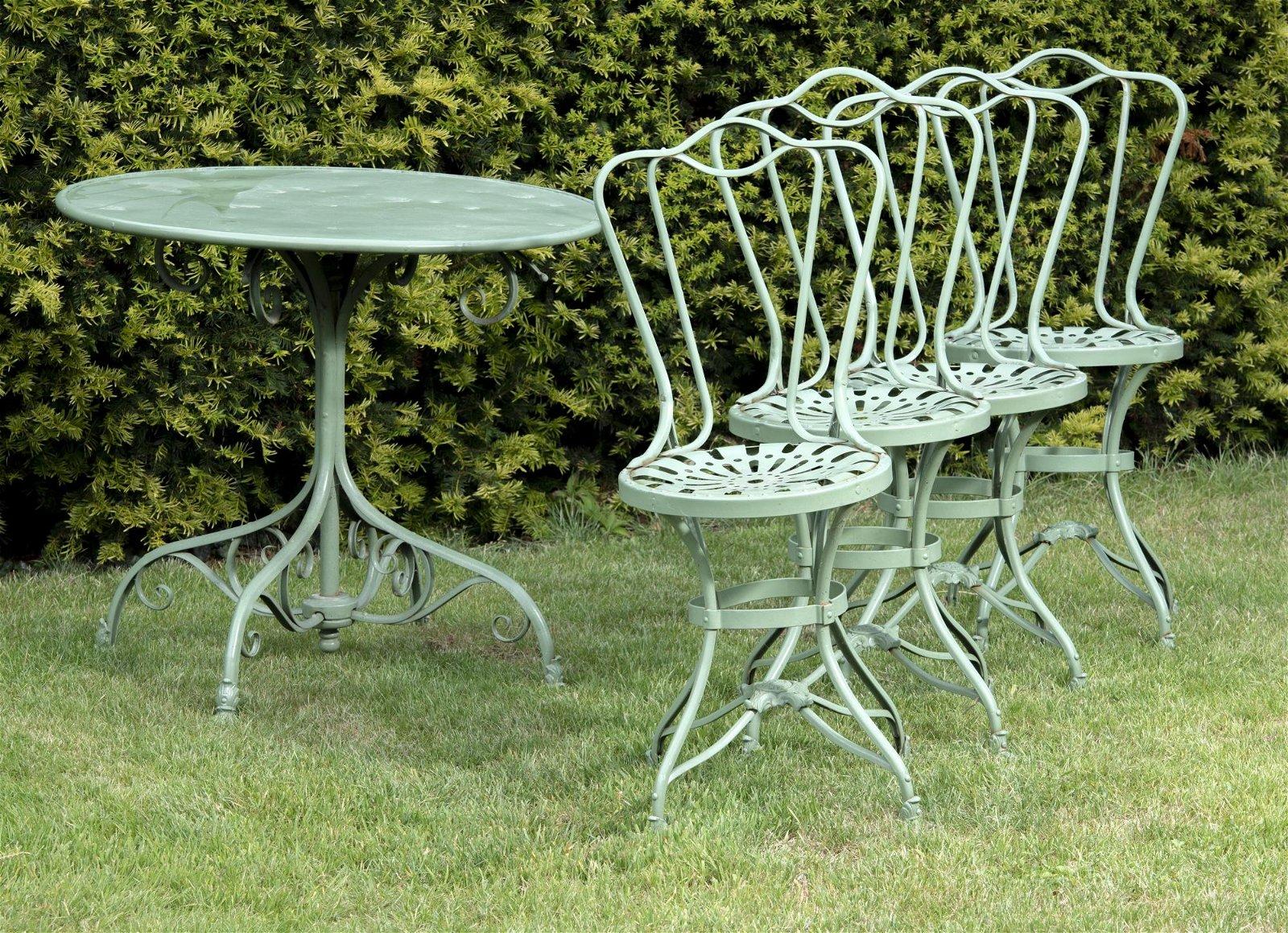 Garden furniture: A rare suite of wrought iron Arras
