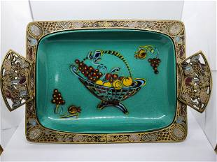 Vintage Brass Fruit Serving Bowl Made in Israel