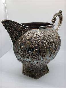 Antique 19th Century Silver Plated Repousse Water