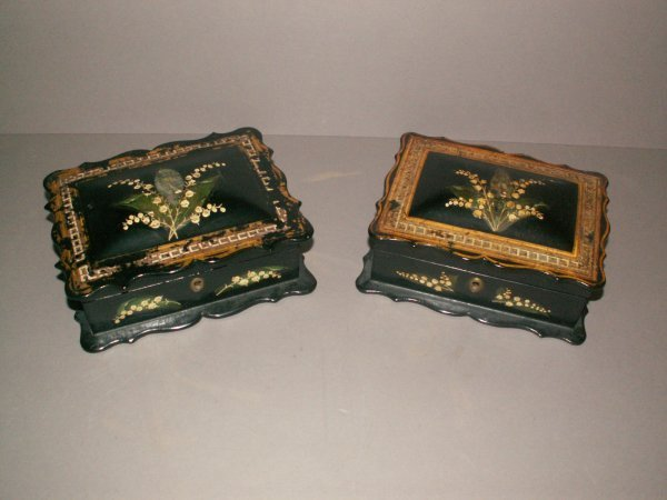 2: PAIR OF ENGLISH PAPIER MACHE INLAID AND GUILDED BOXE