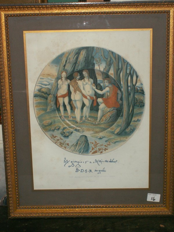 16: TWO FRENCH COLORED ENGRAVINGS OF ITALIAN MAJOLICA P