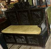 Victorian Signed Horner Hand Carved Hall Bench 2 Chairs