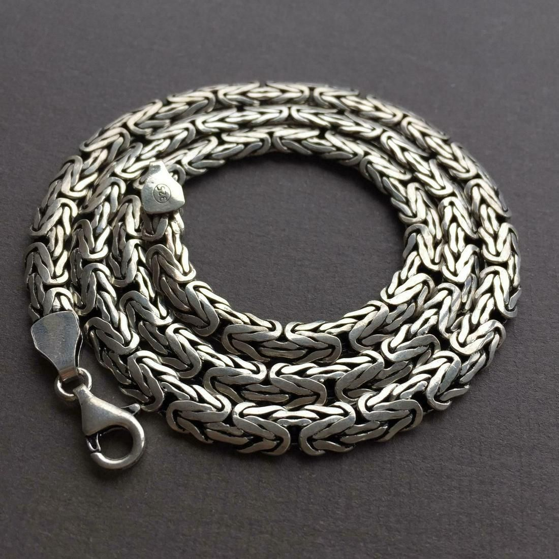 26Inch Mens Bali King Byzantine Chain Necklace 925