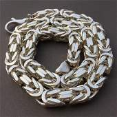 10mm Mens Byzantine King Box Chunky Chain Necklace 925
