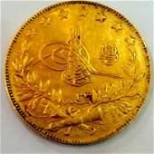Ottoman Turkish 100 Kurush KuruÅŸ Gold Coin 1909 ~1918
