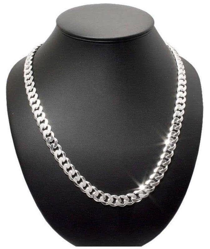 7mm Mens Curb Cuban Link Chain Necklace Pendant 925