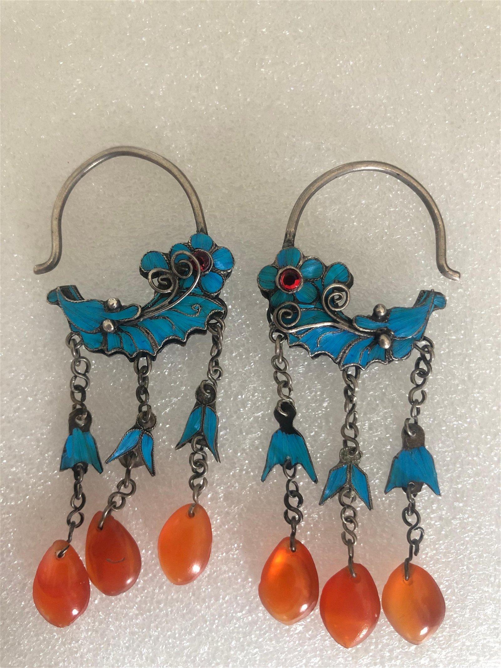 19TH Diancui Agate Earrings