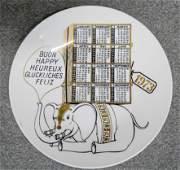 PIERO FORNASETTI. Porcelain Calendar plate
