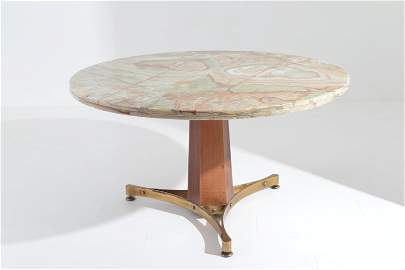PAOLO BUFFA. Brass and wooden table. 1950s