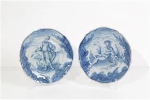 Two blue majolica plates. Savona. 18th century