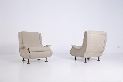 MARCO ZANUSO. Two Lady armchairs. ARFLEX. 1950s