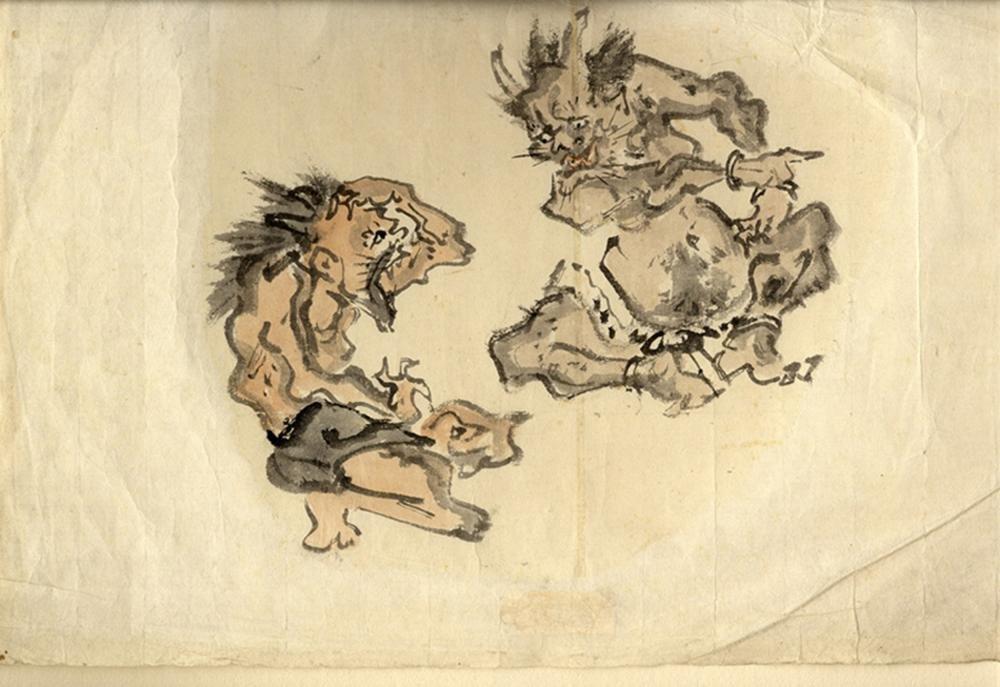Japanese Antiques Im Stil von Kyosai Drawing, 19th