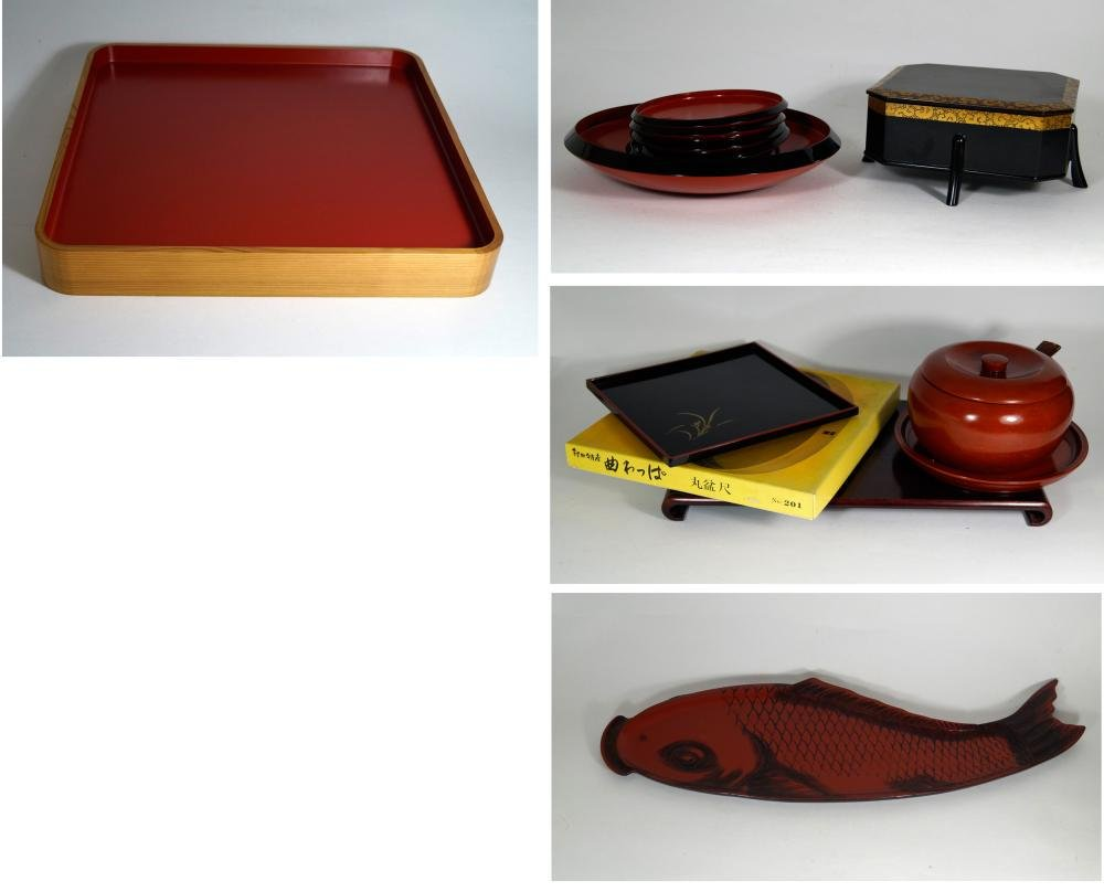 Japanese Antiques Convolute of modern lacquerware 13x,