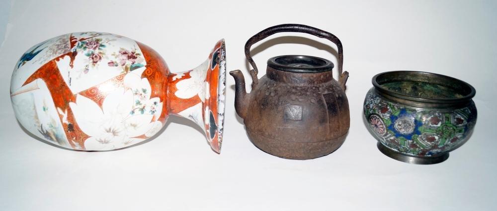 Japanese Antiques Three metal vessels, Meiji