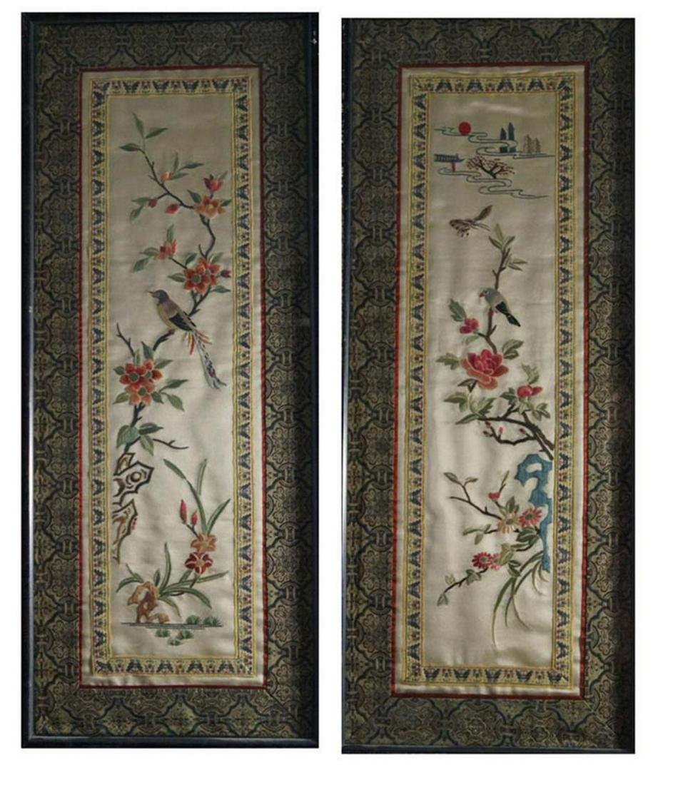 Chinese Antiques and Art Four silk borders silk,