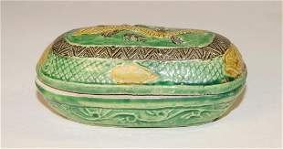Chinese Oval box (l. 10.5 cm), probably Ming