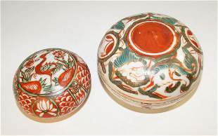 Chinese Two covered boxes, Swatow style