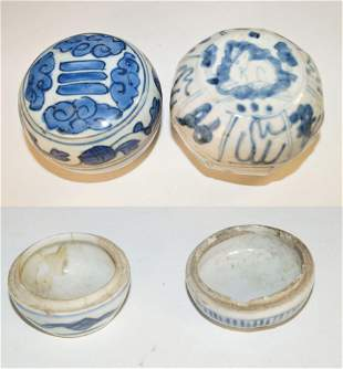 Chinese Two blue and white covered boxes (d. approx. 9