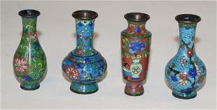 Chinese Four small cloisonné vases (h. approx. 6.5 cm)