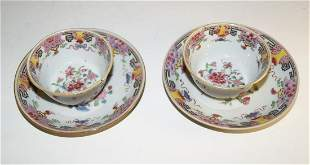 Chinese Pair of cups with saucers, probably Qianlong