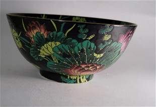 Chinese Famille Noire bowl with Qianlong mark (d. 30