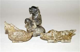 Chinese Three jade figures