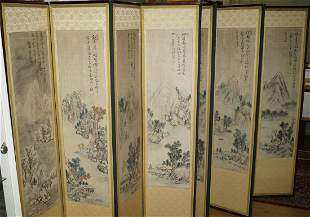 Chinese Screen with ten landscapes