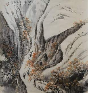 Chinese Roll picture, Autumn mountain landscape, 20th