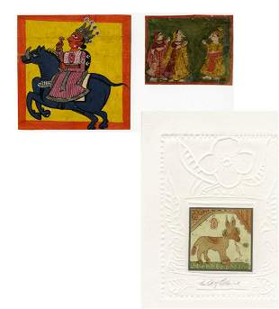 Three small paintings, India