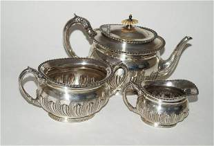 English silver plated tea and milk pot and bowl