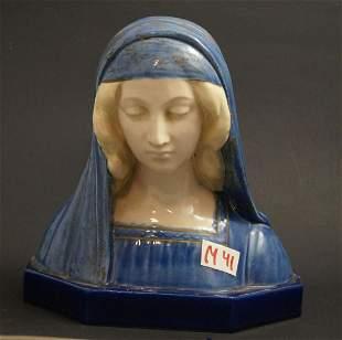 Ceramics, Madonna bust, G. Gamboji
