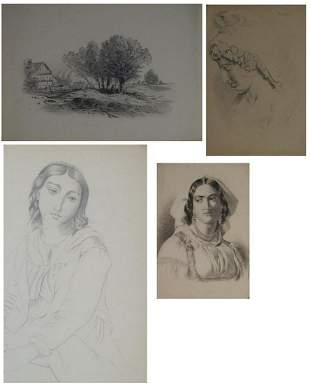 Mixed lot H.V. Commerell / Seven pencil drawings 19th