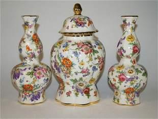 Three Keralux Boch Frères Belgium Vases