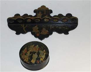 Two lacquer objects, Chinoiserie, late 19th century.