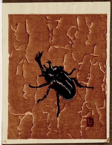 1: Old Japanese Woodblock Print Yamoda, Beetle