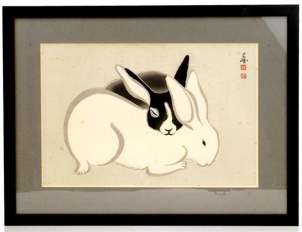 3: Old Japanese Woodblock Print Rabbit Bunny