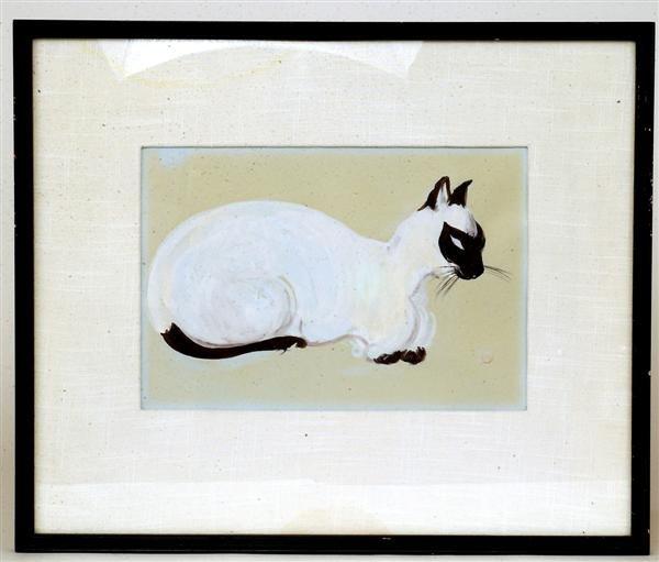 4: Old Japanese Woodblock Print, Cat