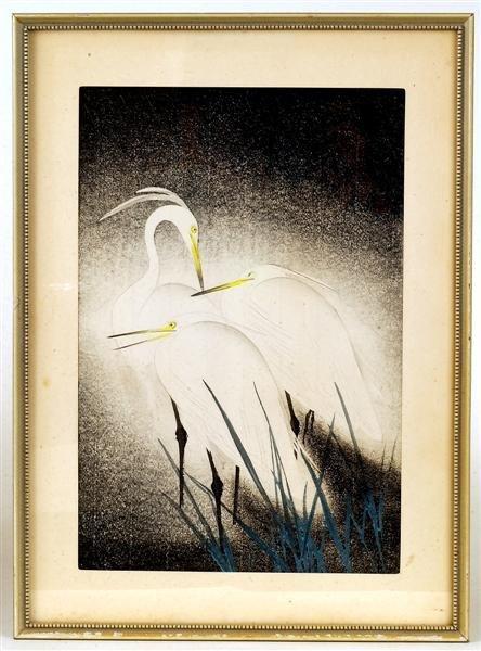 6: Old Japanese Woodblock Print, Bird