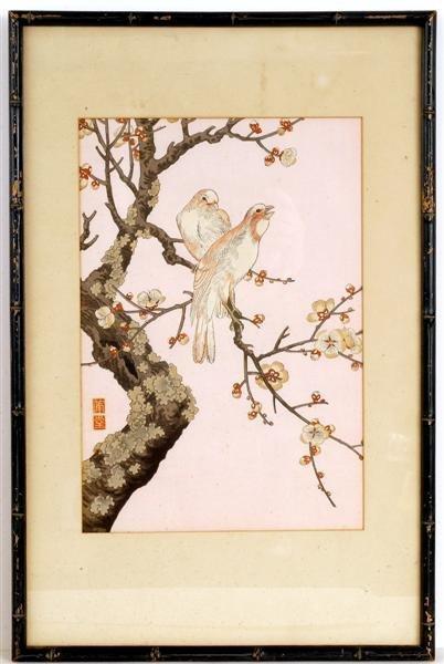 7: Old Japanese Woodblock Print, Warbler Bird