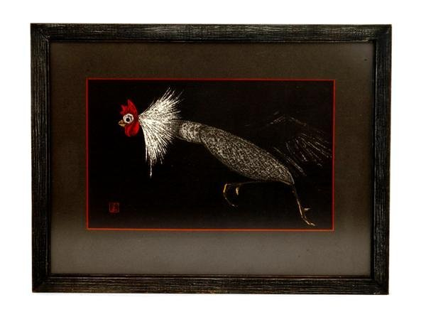 8: Old Japanese Woodblock Print Kaoru Kawano Rooster