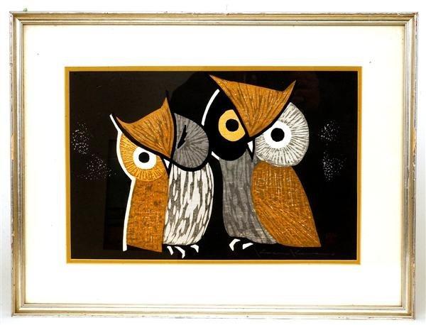 9: Old Japanese Woodblock Print Kawano Kaoru, Owl