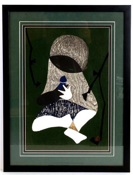 11: Old Japanese Woodblock Print Kawano Kaoru