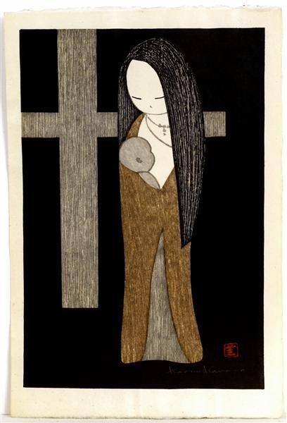 16: Old Japanese Woodblock Print Kawano Kaoru